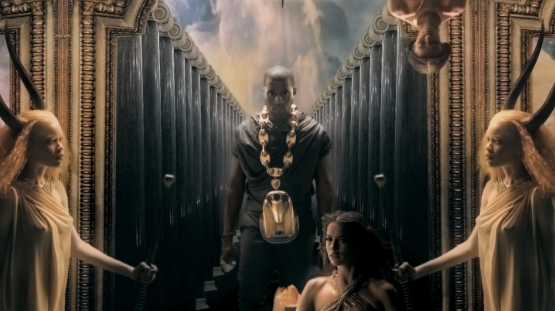 "screen shot from Kanye West's video for ""Power"""